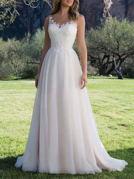 Milanoo Wedding Dress A Line V Neck Sleeveless Lace Beach Party Bridal Gowns With Train