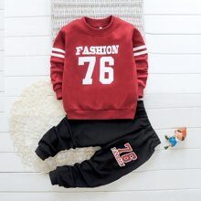 Toddler Boys Letter Graphic Sweatshirt With Pants