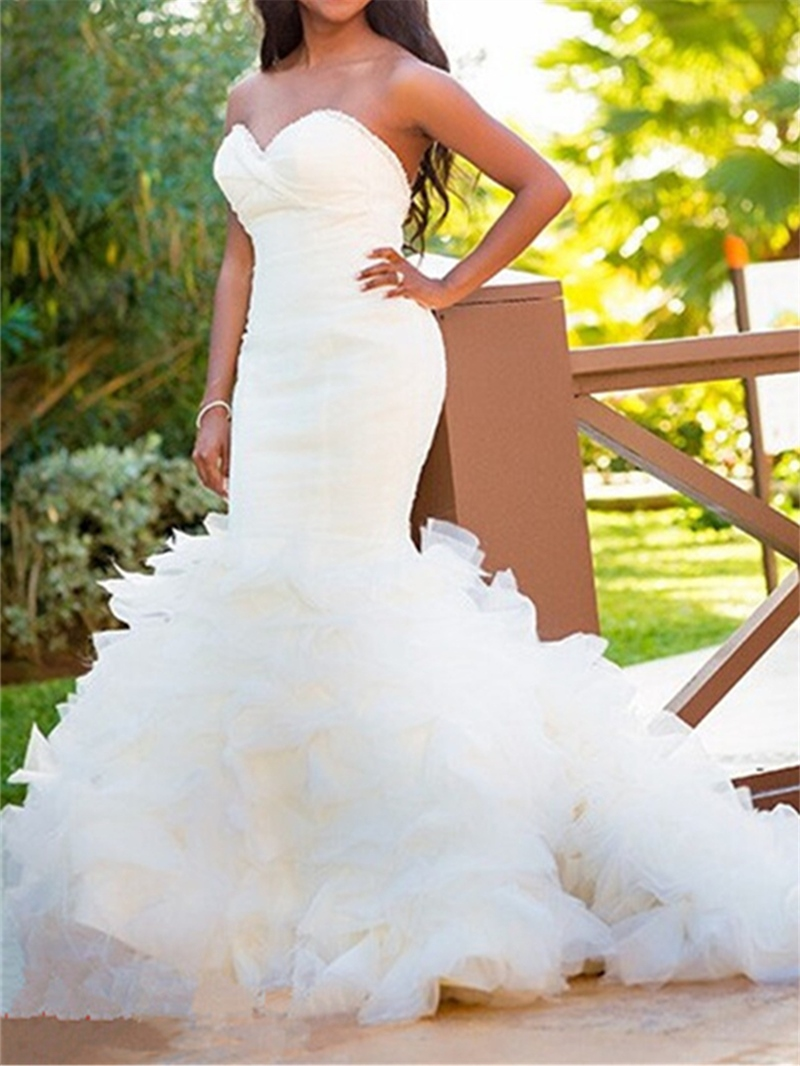 Ericdress Sweetheart Ruffles Beaded Mermaid Wedding Dress