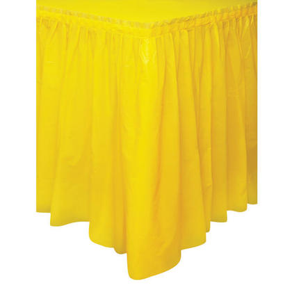 Sunflower Yellow Solid Plastic Table Skirt, 29