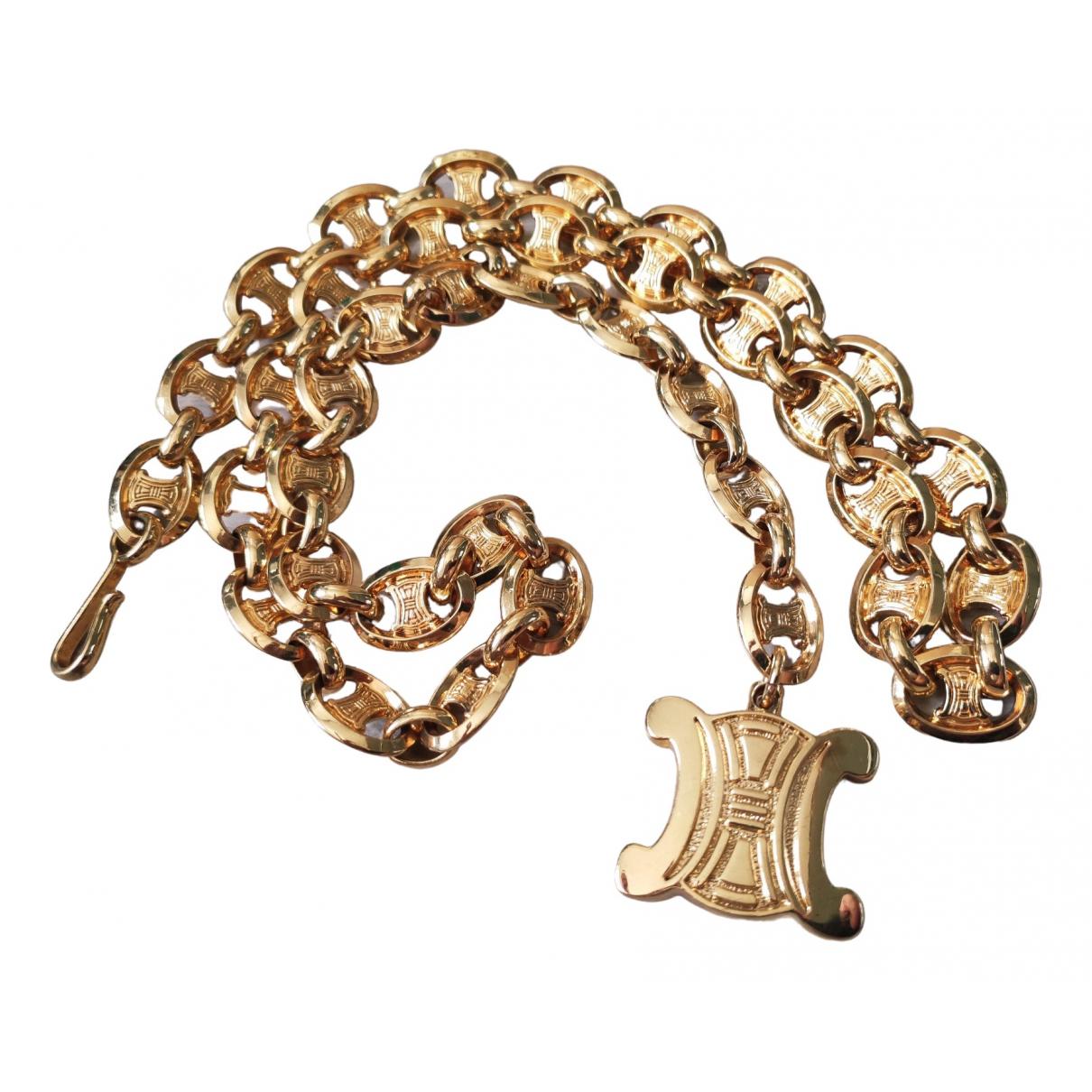 Celine Triomphe Gold Metal belt for Women 80 cm