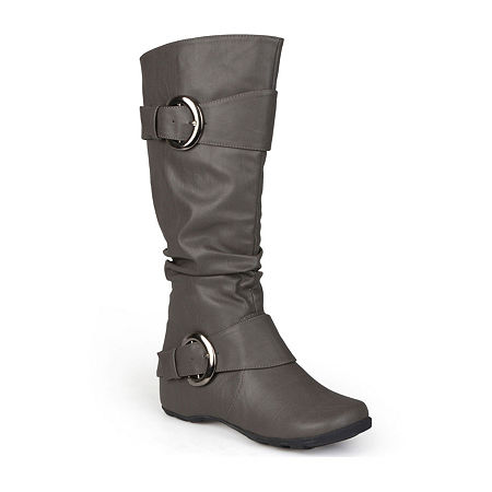 Journee Collection Womens Paris Wide Calf Slouch Riding Boots, 9 Medium, Gray