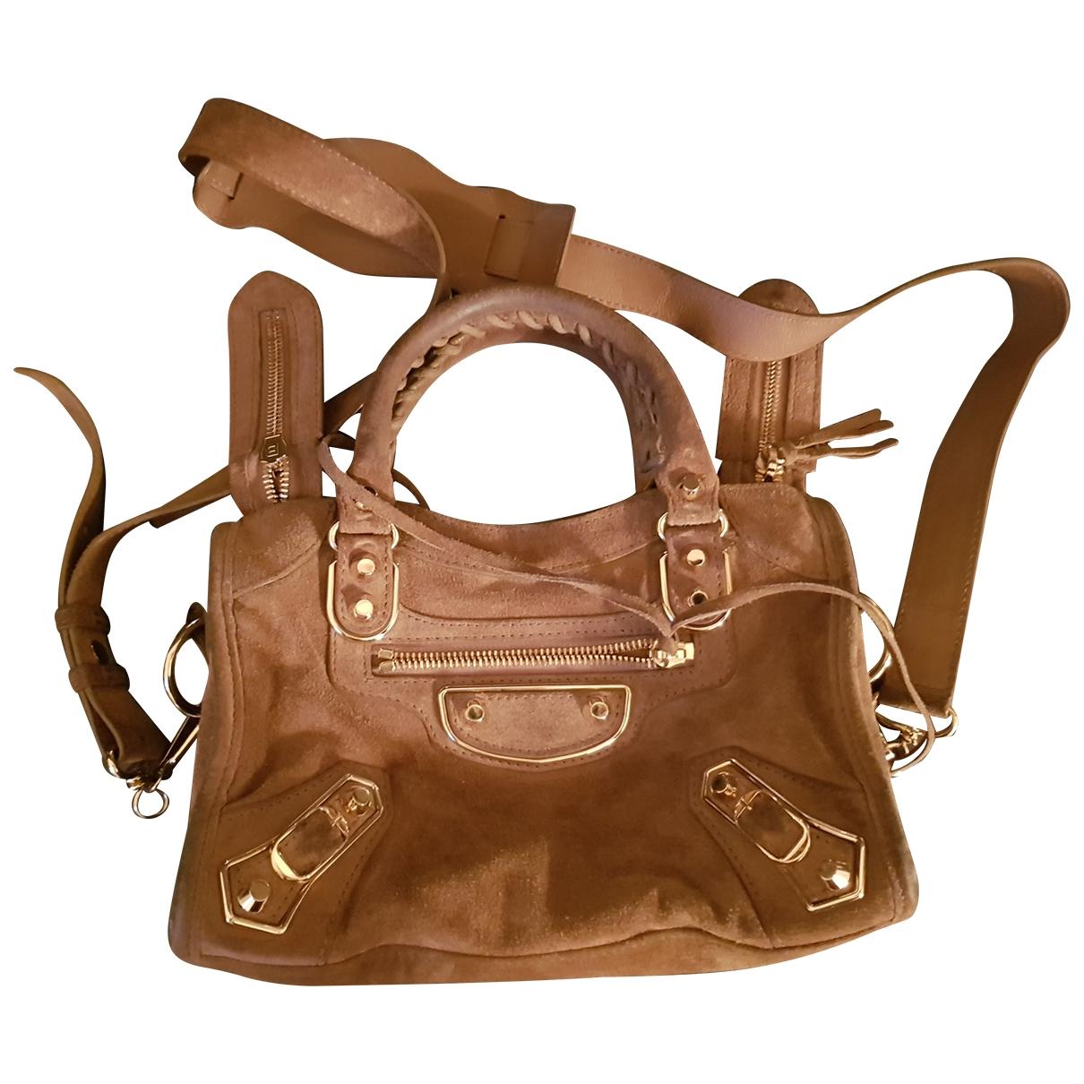 Balenciaga Classic Metalic Beige Suede handbag for Women \N