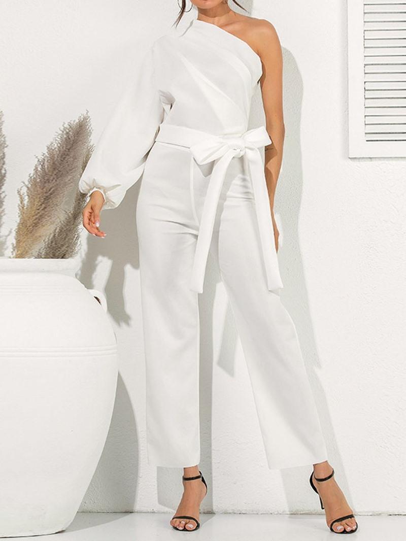 Ericdress Oblique Collar Asymmetrical Skinny Dressy Jumpsuit