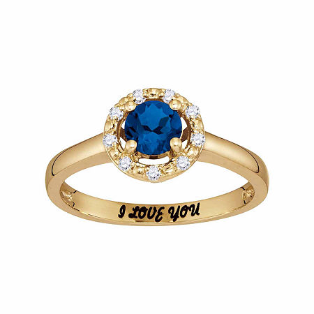 Personalized Simulated Birthstone & Cubic Zirconia Halo Ring, 7 , Yellow