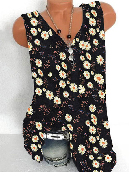 Milanoo Light Sky Blue Daisy Cami Top V-Neck Polyester Casual Printed Women Camis