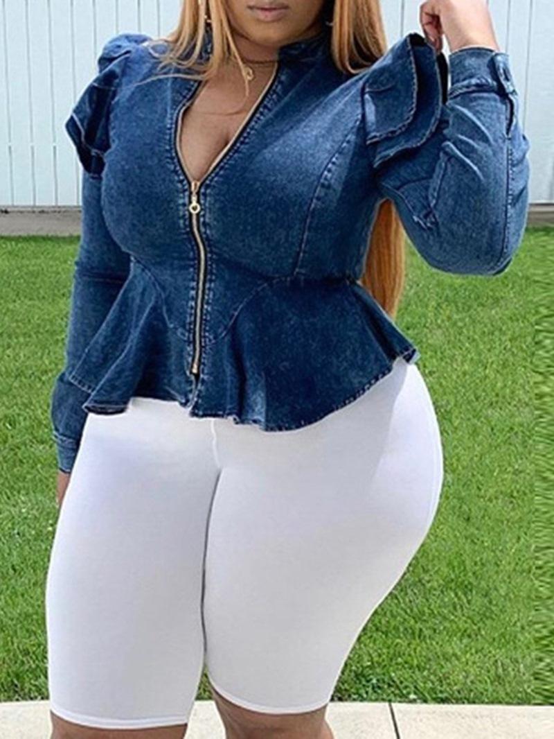 Ericdress Plus Size Thin Slim Zipper Ruffle Sleeve Standard Jacket