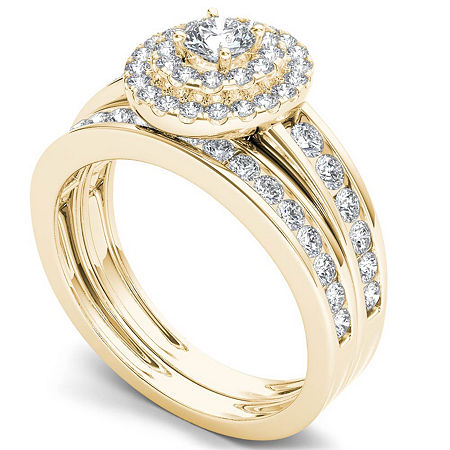 Womens 1 CT. T.W. Genuine White Diamond 10K Gold Bridal Set, 9 , No Color Family
