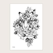 1sheet Tiger & Flower Pattern Tattoo Sticker