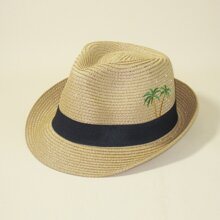 Men Tree Embroidered Straw Hat