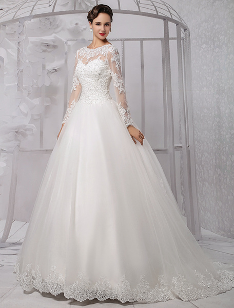 Milanoo Wedding Dresses Ball Gown Long Sleeves Bridal Dress Lace Beading V Back Illusion Sweetheart Train Wedding Gown