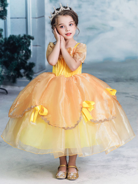 Milanoo Child Princess Cosplay Beauty And The Beast Belle Yellow Dress Kids Halloween Cosplay Costumes