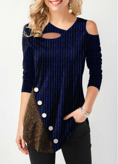 Button Detail Cold Shoulder Long Sleeve T Shirt - 12