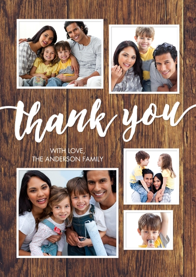Thank You Cards Flat Glossy Photo Paper Cards with Envelopes, 5x7, Card & Stationery -Thank You Framed Collage by Tumbalina