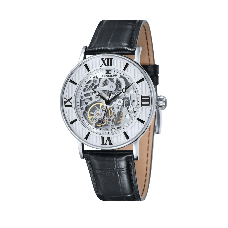 Thomas Earnshaw Men's Darwin ES-8038-02 Silver Leather Hand Wind Fashion Watch