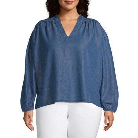 a.n.a-Plus Womens V Neck Long Sleeve Blouse, 2x , Blue
