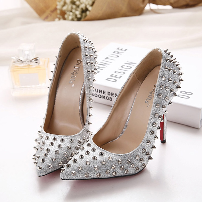 Ericdress Rivet Slip-On Pointed Toe Stiletto Heel Women's Pumps