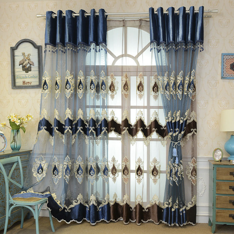 Classic Luxury Blue Embroidered Custom Living Room Sheer Curtains Breathable Voile Drapes No Pilling No Fading No off-lining