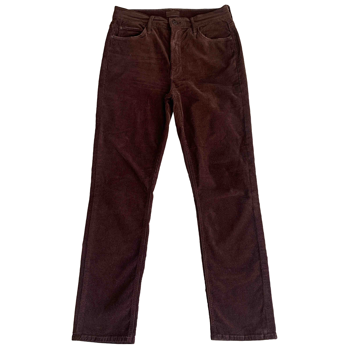 M\N Brown Cotton Trousers for Women 38 FR