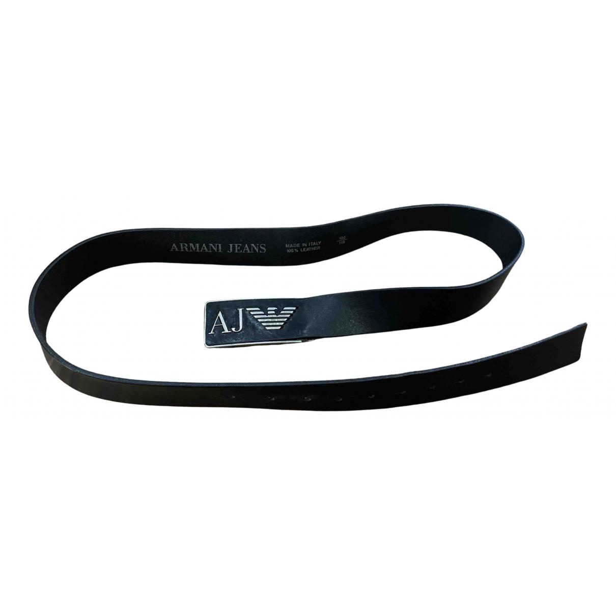 Armani Jeans \N Black Leather belt for Men 100 cm