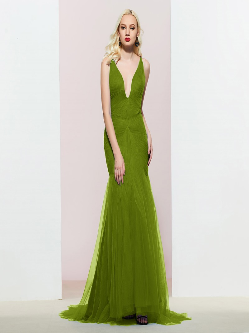 Ericdress Floor-Length V-Neck Mermaid Evening Dress