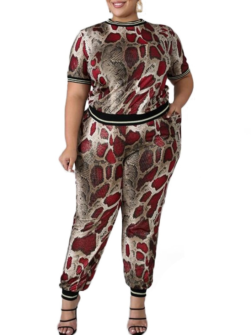 Ericdress Plus Size Animal T-Shirt and Pencil Pants Round Neck Two Piece Sets