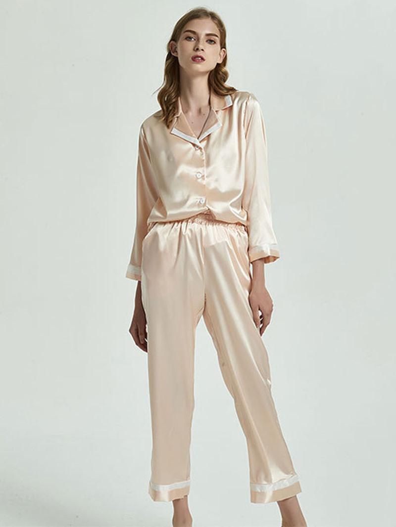 Ericdress Button Color Block Fashion Women's Sleepwear 2 Pieces