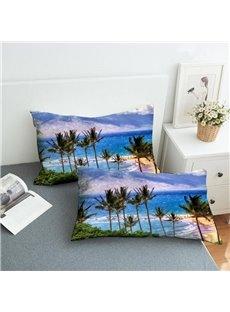 Hawaiian Vacation Style Reactive Printing 2-Piece Polyester Pillowcase