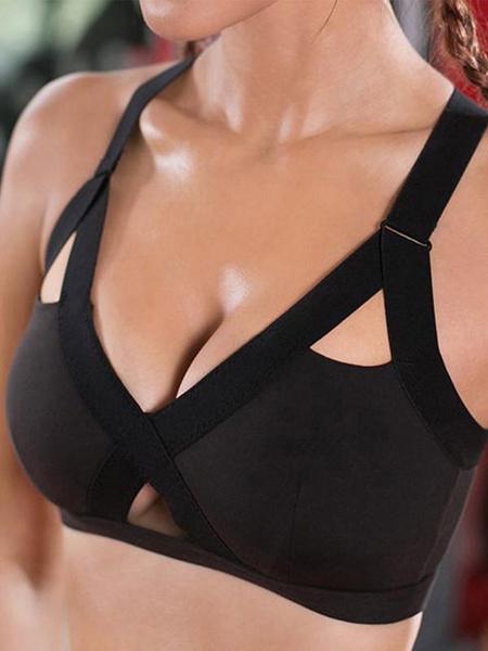 Milanoo Harness Sports Bras Bra Black Cut Out Two Tone Yoga Bra