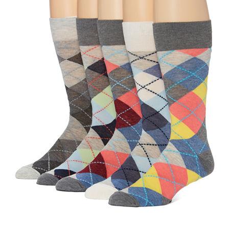 Stafford 5 Pair Crew Socks-Mens, 13-15 , Blue
