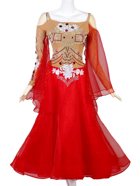 Milanoo Ballroom Dance Costumes Gem Jeweled Rhinestone Cut Out Red Women Dress Dancing Wear