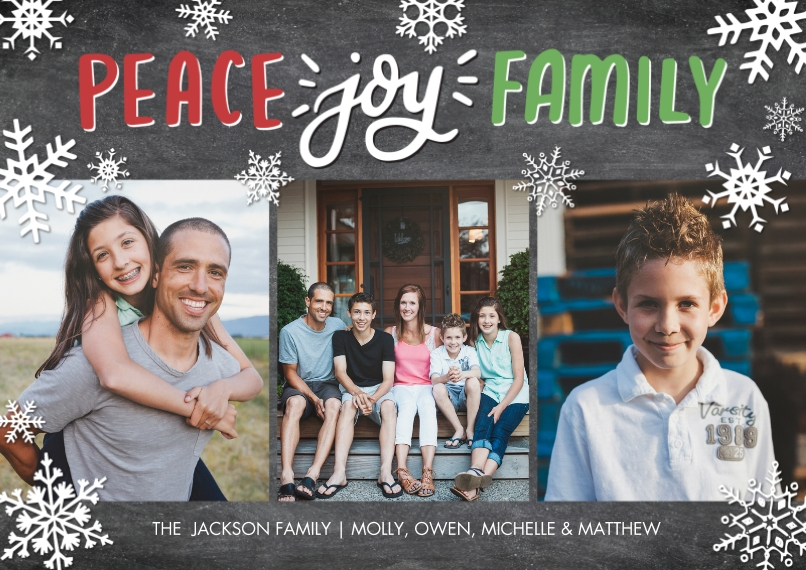 Christmas Photo Cards Flat Matte Photo Paper Cards with Envelopes, 5x7, Card & Stationery -Holiday Peace Joy Script by Tumbalina