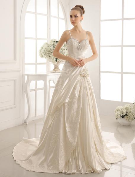 Milanoo Sweetheart Chapel Train Wedding Dress With Spaghetti Straps