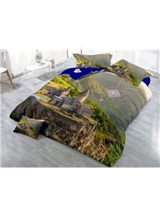 Green Mountain and Mysterious Houses Wear-resistant Breathable High Quality 60s Cotton 4-Piece 3D Bedding Sets