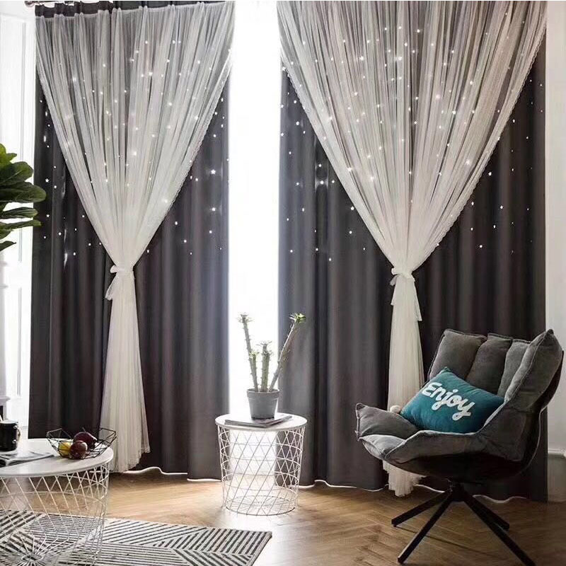 Modern Romantic Hollowed-out Star Princess Double Pinch Pleat Faint Glow to Create Dreamlike Atmosphere 80% Shading Rate and Good Ultraviolet-proof Ef