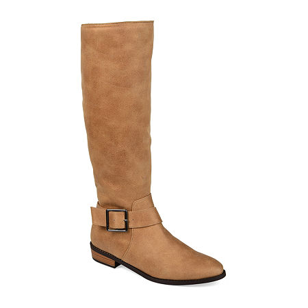 Journee Collection Womens Winona Riding Boots Stacked Heel, 8 1/2 Medium, Brown