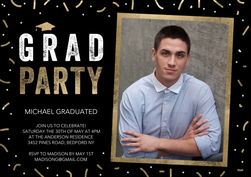 Graduation Invitations 5x7 Cards, Premium Cardstock 120lb with Rounded Corners, Card & Stationery -Grad Party Gold Frame by Tumbalina