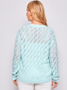 Plus Solid Pointelle Knit Button Front Cardigan