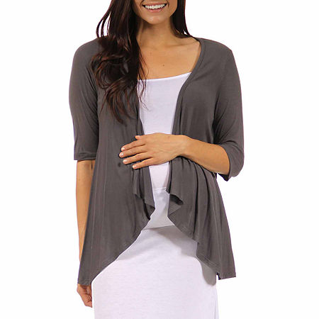 24/7 Comfort Apparel-Maternity Womens Knit Blouse, Large , Gray