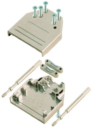 MH Connectors , MHDTZI Zinc D-sub Connector Backshell, 15 Way, Strain Relief, Silver