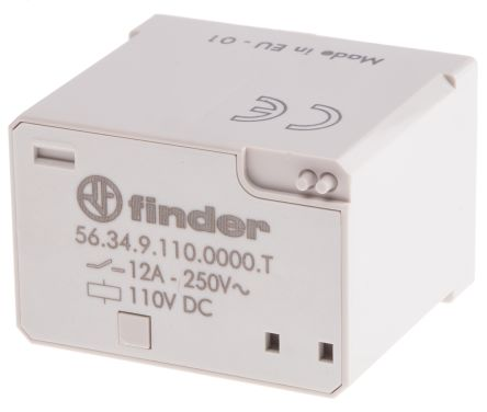 Finder , 110V dc Coil Non-Latching Relay 4PDT, 12A Switching Current Plug In, 4 Pole