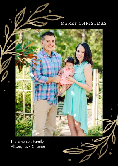 Christmas Photo Cards 5x7 Cards, Premium Cardstock 120lb, Card & Stationery -Christmas Gold Leaves