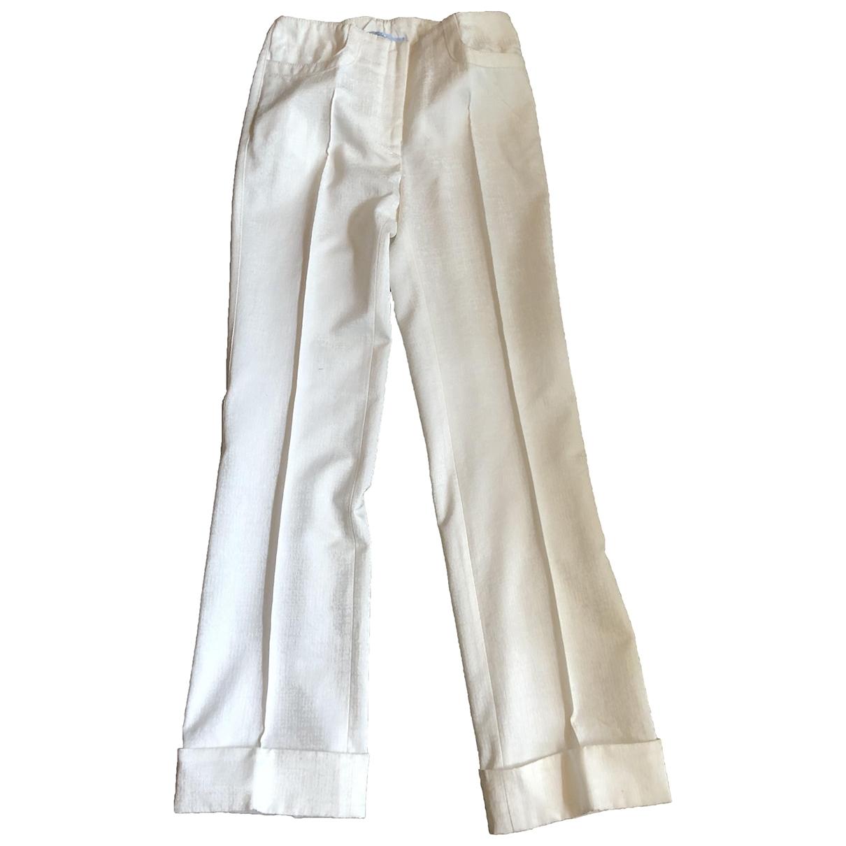 Blumarine \N White Cotton Trousers for Women 40 IT
