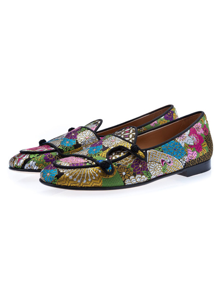 Milanoo Mens Loafers Shoes Flower Embroidered Leather Slip On Flat Shoes