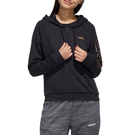 adidas Womens Hooded Neck Long Sleeve Sweatshirt, Small , Black