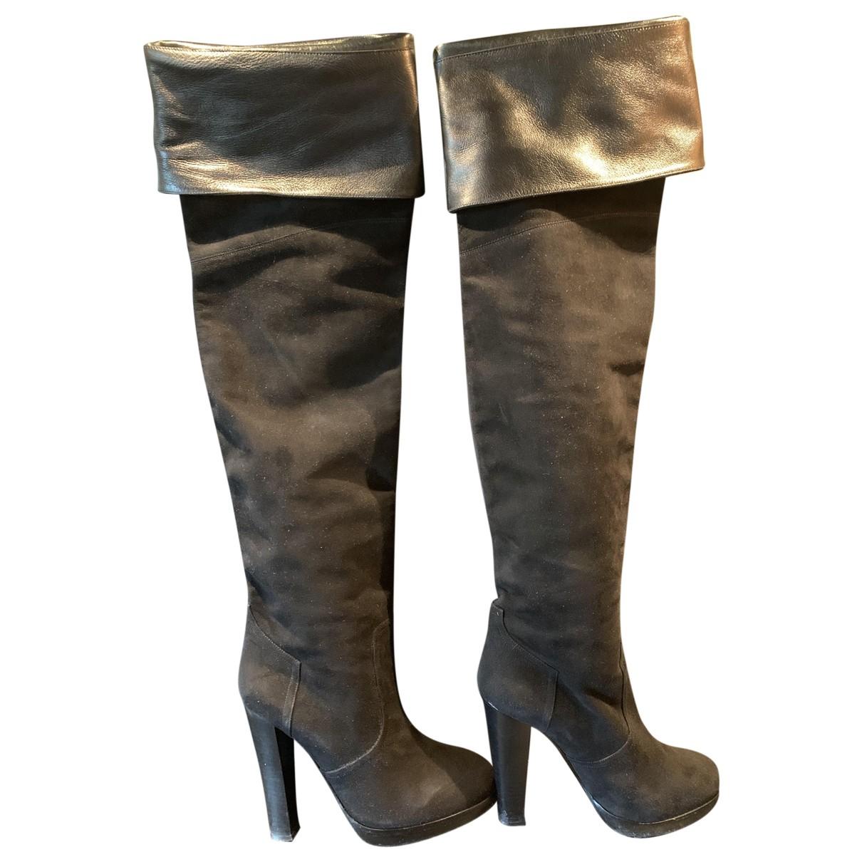 Hermès \N Black Suede Boots for Women 38.5 EU
