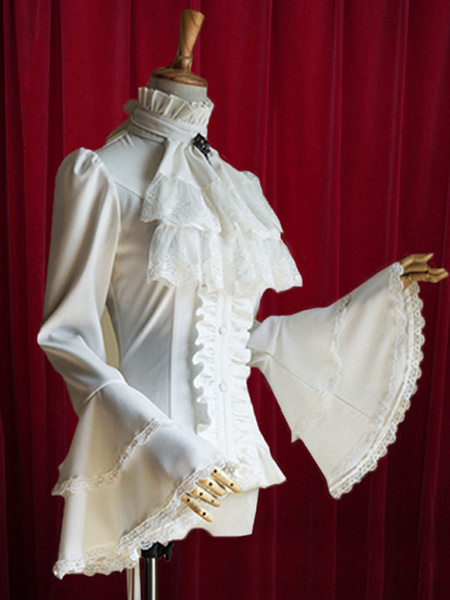 Milanoo Black Lolita Blouse Bell Sleeves Ruffles Cotton Blouse for Women