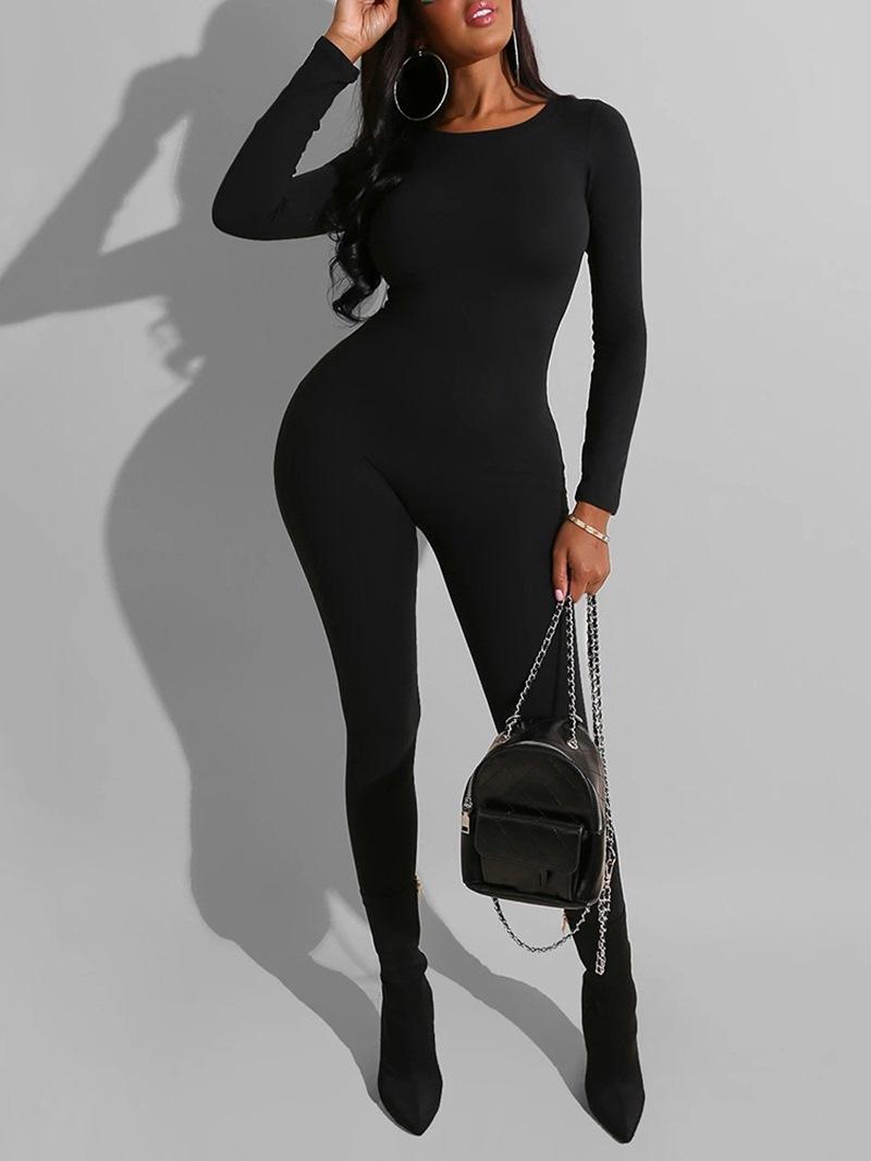 Ericdress Casual Plain Full Length High Waist Skinny Jumpsuit