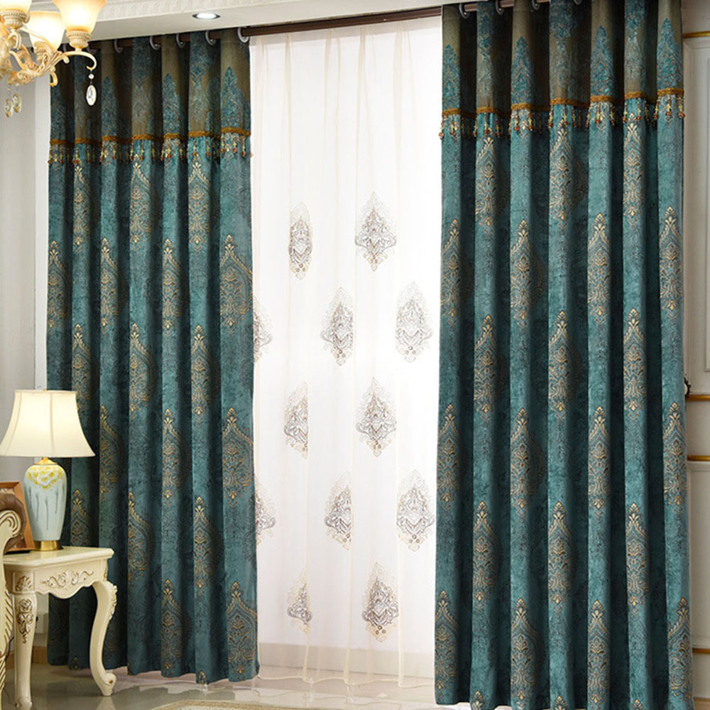 Vintage Embroidered Decorative Sheer Curtains for Living Room Custom 2 Panels Breathable Drapes No Pilling No Fading No off-lining