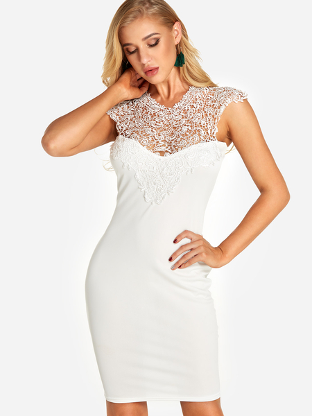Yoins White Lace Insert See Through Design Cut Out Back Dress